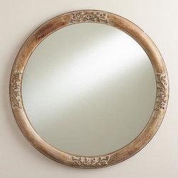Round Floral Hazel Mirror -