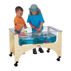 "Jonti-Craft - See-Thru Sand-n-Water Table - This activity table provides the ultimate splash control with a clear, tuff, nine-inch deep acrylic tub. A matching see-thru acrylic activity cover is included. Features: -9"" deep clear plastic tub -Baltic Birch frames fit easily through classroom doors -Hard Maple legs are fitted with non-marking swivel coasters -Drain with valve included -High pressure laminate top -KydzTuff finish- resists stains, won't yellow, and is easy to clean -Locking casters -Ready-to-assemble -Dimensions: 24.5"" H x 37"" W x 23"" D"