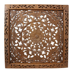 Kammika - Lotus Wall Panel Teak Wood Inlay Sq 90 cm (35 inch) in Brown Stain and Nat Wax - Our Lotus Wall Panel Reclaimed Recycled Teak Wood Inlay Square 90 centimeter (Approximately 35 inch) Square in Eco Friendly Natural Brown Stain and Natural Wax Oil Finish is a detailed carving of our Lotus theme. Several recycled rough-hewn reclaimed teak planks from old dwellings and community buildings are joined together and then carved with an intricate Lotus pattern as a single unit. Finished with an eco friendly brown stain and natural wax, this elegant and unique piece is hand carved out of old teak wood selected to match as close as possible in thickness and coloration. We use a natural eco friendly brown stain to darken the panels and then lightly sand the carved surfaces to create light brown highlights; the natural reclaimed teak shows through; it is then rubbed in natural wax to seal the wood. The panel has two embedded flush mount Keyhole hangers on the back. Variations in wood color are evident, although the carvers strive to make as close a match as possible before starting. Still the colors will vary naturally just like the trees from which the wood came many years before varied. Although they do not perfectly match in thickness, the design is carved in such a way as to match closely from panel to panel. We make minimal use of electric hand sanders in the finishing process. All products are dried in solar or propane kilns. No chemicals are used in the process, ever. After each piece is carved, dried, sanded, and finished, they are packaged with cartons from recycled cardboard with no plastic or other fillers. As this is a natural product, the color and grain of your piece of Nature will be unique, and may include small checks or cracks that occur when the wood is dried. Sizes are approximate. Products could have visible marks from tools used, patches from small repairs, knot holes, or natural inclusions. There may be various separations or cracks on your piece when it arrives. There may be some slight variation in size, color, texture, and finish. Only listed product included.