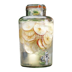 """Home Essentials - Nantucket Vintage Glass Jar Drink Dispenser - It's fun to play hostess, however you don't want to run back and forth to the kitchen every time a guest wants a drink! Crafted of high quality glass and fashioned into the shape of a bail & trigger jar this beverage dispenser is an established and classy way to host and serve. Our high quality glass drink dispenser is the perfect beverage companion to spring garden parties, summer barbeques or children's birthday parties on the patio. Enjoy some refreshing raspberry lemonade or sangria in the heat of summer or some ice cold coke year round!   * Capacity: 2 gallons  * Heavy duty acrylic spout  * Bottom measures: 7.5"""" in diameter * Opening width: 4.25"""" in diameter"""