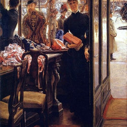 "James Tissot The Shop Girl - 16"" x 24"" Premium Archival Print - 16"" x 24"" James Tissot The Shop Girl premium archival print reproduced to meet museum quality standards. Our museum quality archival prints are produced using high-precision print technology for a more accurate reproduction printed on high quality, heavyweight matte presentation paper with fade-resistant, archival inks. Our progressive business model allows us to offer works of art to you at the best wholesale pricing, significantly less than art gallery prices, affordable to all. This line of artwork is produced with extra white border space (if you choose to have it framed, for your framer to work with to frame properly or utilize a larger mat and/or frame).  We present a comprehensive collection of exceptional art reproductions byJames Tissot."