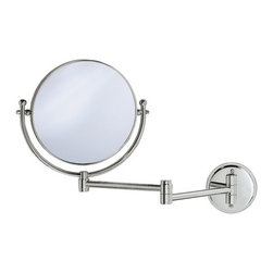 "Gatco - Magnifying 8"" Swinging Wall Mirror in Chrome - Get an even closer look. The Magnifying 7.5"" Swinging Wall Mirror in Polished Brass from Gatco is a must-have for every bathroom. The two-sided mirror is attached to an extendable arm which can reach 14 out from the wall. The traditional style, bright finish and quality construction, along with the 3x magnification on one side make this piece pleasing to any bathroom. Features : - Wall and Vanity Mirrors Collection. - Available in a polished brass finish. - Traditional style. - Made of solid forged brass. - Two-sided mirror. - 3X Magnification on one side. - Must be installed into the wall. - Exposed screws. - 14"" swinging arm when fully extended. - Also available separately in a chrome finish. - Dimensions : 14"" L Arm, 7.5"" Diameter. -Dimensions: 11.5"" H x 19.5"" W."