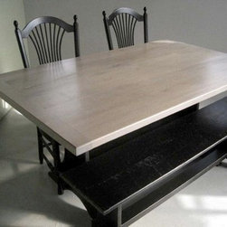 Reclaimed Oak Trestle Table With Old Oak Bench - Made by www.ecustomfinishes.com