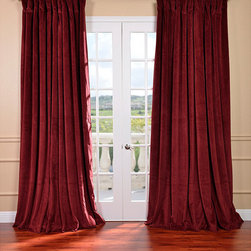 EFF - Burgundy Velvet Blackout Extra Wide Curtain Panel - Apply a classic look to your windows or glass doors with this blackout curtain panel. The velvet panel has a deep rich burgundy color that helps with the luxurious look of the panel as it blocks any light from leaking through from the outside.