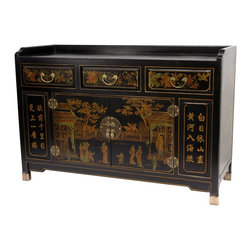 "Oriental Furniture - Black Lacquer Village Life Buffet Table - This elegant black lacquer buffet cabinet was hand-crafted in a classic Ming dynasty design. It has been exquisitely hand-painted with floral motifs on the drawers, a detailed courtyard scene on the front, and calligraphy on the side panels. The doors hang on sturdy, round brass hinges and latch shut with a traditional circle medallion hasp with leaf pulls and lock pin. Cabinet opening measures 28.5""W x 16""H"