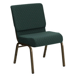 Flash Furniture - Hercules Series 21'' Extra Wide Hunter Green Dot Patterned Stacking Church Chair - This Hercules Series Church Chair will add elegance and class to any Church, Hotel, Banquet Room or Conference setting. If you are looking for a chair with comfort and style that is easy to move and stores away with ease, then look no further. This built to last chair has a 16-gauge steel frame that has been tested to hold 800 lbs. This church chair features double support bracing, ganging clamps, a cushion that graduates to a 5'' thick waterfall edge and plastic floor glides to protect non-carpeted floors. Our church chair is manufactured by one of the most reputable stack chair manufacturers in the industry, you can be assured of the quality of this chair offered to you.