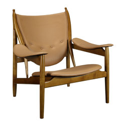 """LexMod - Warrior Lounge Chair in Tan - Warrior Lounge Chair in Tan - Defend your territory with a lounge chair that entreats elements of weaponry and leadership. Fill your room with the spoils of a successful conquest, as you impart a sense of victory amongst your surroundings. Constructed of a solid wood frame and leather padded seat and armrests, introduce elements of bravery and freedom with a chair that portrays your person moment of armistice. Set Includes: One - Warrior Lounge Chair Modern lounge chair, Solid ash wood frame, Padded leather seat and armrests Overall Product Dimensions: 35""""L x 23.5""""W x 36.5""""H Seat Dimensions: 23.5""""L x 23.5""""W x 9.5 - 14.5""""H Armrest Dimensions: 7""""W x 20.5 - 22.5""""HBACKrest Dimensions: 26.5""""W x 27.5""""H Space Between Armrest and Seat: 3.5 - 7.5""""H Cushion Dimensions: 1""""Hbrase Dimensions: 23.5""""L x 23.5""""W - Mid Century Modern Furniture."""