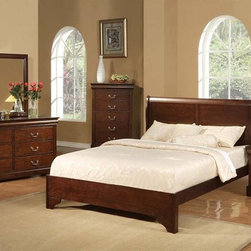 Alpine Furniture - West Haven 4-Pc Traditional Bedroom Set (East - Choose Size: Eastern King: 88.25 L x 80.25 W x 46.75 HIncludes bed, nightstand, dresser and mirror. Chest not included. Bed with low footboard. Split panel headboard. Box spring required. Nightstand with two drawers. Dresser with six drawers. Metal knelling rails at bottom. 1 in. mirror frame thickness. Six months warranty. Made from rubber wood solids and poplar veneers. Cappuccino finish. Made in Vietnam. No assembly required. Full bed: 82 in. L x 56.5 in. W x 46.75 in. H. Queen bed: 88.25 in. L x 62.5 in. W x 46.75 in. H. Eastern king bed: 88.25 in. L x 80.25 in. W x 46.75 in. H. California king bed: 90.25 in. L x 74.5 in. W x 46.75 in. H. Nightstand: 21.5 in. W x 15.5 in. D x 24 in. H. Dresser: 59.5 in. W x 17.5 in. D x 33.75 in. H. Mirror: 36 in. W x 38.25 in. H