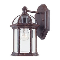 Joshua Marshal - One Light Clear Beveled Glass Rustic Bronze Wall Lantern - One Light Clear Beveled Glass Rustic Bronze Wall Lantern