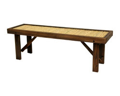 Oriental Furniture - Japanese Bamboo Bench w/ Wood Frame - Flat Japanese bamboo bench with dark walnut wood. Kiln-dried frame has sturdy block legs and extra center beam for added support and durability. Seat consists of authentic bleached bamboo poles. Recommended storage during harsh weather to maximize product lifespan if using outdoors. Lightweight bench adds a practical and appealing Oriental accent to your garden, porch, hallway, or other room in the house or office.