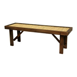 Oriental Furniture - Japanese Bamboo Bench with Wood Frame - Flat Japanese bamboo bench with dark walnut wood. Kiln-dried frame has sturdy block legs and extra center beam for added support and durability. Seat consists of authentic bleached bamboo poles. Recommended storage during harsh weather to maximize product lifespan if using outdoors. Lightweight bench adds a practical and appealing Oriental accent to your garden, porch, hallway, or other room in the house or office.