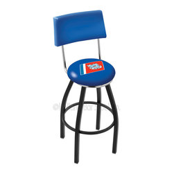 Holland Bar Stool - Holland Bar Stool L8B4 - Black Wrinkle U.S. Coast Guard Swivel Bar Stool - L8B4 - Black Wrinkle U.S. Coast Guard Swivel Bar Stool w/ Back belongs to Military Collection by Holland Bar Stool Made for the ultimate sports fan, impress your buddies with this knockout from Holland Bar Stool. This contemporary L8B4 logo stool has a black wrinkle single-ring base and a cushioned back to achieve maximum comfort and support. Holland Bar Stool uses a detailed screen print process that applies specially formulated epoxy-vinyl ink in numerous stages to produce a sharp, crisp, clear image of your team's emblem. You can't find a higher quality logo stool on the market. The plating grade steel used to build the frame is commercial quality, so it will withstand the abuse of the rowdiest of friends for years to come. The structure is powder-coated to ensure a rich, sleek, long lasting finish. Construction of this framework is built tough, utilizing solid mig welds. If you're going to finish your bar or game room, do it right- with a Holland Bar Stool. Barstool (1)
