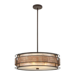 Quoizel - Quoizel MC8420CRC Mica Contemporary Pendant Light - This mica piece is an addition to the Quoizel Naturals collection and features a mosaic tile stripe, which appears to be floating around a taupe mica shade. The tiles have a coppery shimmer for an added touch of elegance.    It provides a warm and inviting accent for most any home.