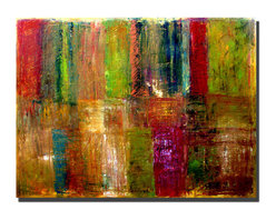 Trademark Art - Michelle Calkins Color Abstract - 18 x 24 Can - Gallery Wrapped Canvas Art. Canvas wraps around the sides and is secured to the back of the wooden frame. Frameless presentation of the finished painting. 18 in. L x 24 in. W x 2 in. D (3.8 lbs.)