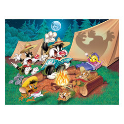 Oriental Furniture - Sylvester and Tweety Camping Wall Art - Light up the kids' bedroom or playroom with Looney Tunes' Sylvester the Cat telling ghost stories to Speedy Gonzales, Tweety, and friends around the campfire! Our limited edition print, reminiscent of family vacations, is fun for kids and parents. The authentic graphic print is professionally reproduced onto artist quality canvas, stretched over a sturdy mitered wood frame, and ready to hang right from the box.