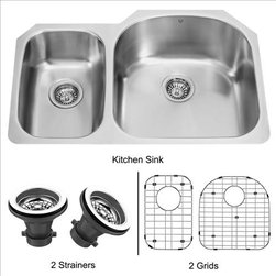 Vigo - VIGO VG3121RK1 Kitchen Sink - The VIGO double Kitchen Sink, undermount kitchen sink, matching grids and strainers complement any decor and are highly functional. Every design detail is featured in this sink to meet your needs.