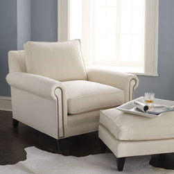 Old Hickory Tannery - Old Hickory Tannery Ellsworth Neutral Ottoman - Exclusively ours. Handsomely handcrafted chair and matching ottoman are ideal for adding long-lasting, comfortable style. Hardwood frames with cotton twill fabric upholstery trimmed with bronze-finished nailheads. Available in neutral or your choice o...