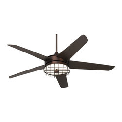 """Possini Euro Design - 60"""" Possini Euro Edge II Oil-Rubbed Bronze Ceiling Fan - The Edge II™ contemporary ceiling fan design from Possini Euro Design offers sleek updated good looks. The motor comes in an oil-rubbed bronze finish with five matching blades. Features a 60"""" blade span and 14 degree blade pitch. This model has an integrated white frosted glass light kit with an optional cage included. Comes with a full function remote control with an on/off light function. Limited lifetime warranty. Oil-rubbed bronze finish. Five matching plywood blades. Lifetime motor warranty. 188 x 22 mm motor. Integrated light kit with included and optional cage. Includes one 22 watt circline fluorescent bulb. Includes full function remote control with on/off light functions. 4"""" downrod included. Fan height 13 1/4"""" blade to ceiling (with 4"""" downrod). 60"""" blade span. 14 degree blade pitch.  Oil-rubbed bronze finish.   Five oil-rubbed bronze finish blades.   60"""" blade span.   14 degree blade pitch.  188 x 22 mm motor.   Lifetime motor warranty.   Includes full function remote control with on/off light functions.   Integrated light kit with included cage.  Includes one 22 watt circline fluorescent bulb (non-dimmable).  4"""" downrod included.  Fan height 13 1/4"""" blade to ceiling (with 4"""" downrod).   Minimum 9 foot ceiling required.   With included canopy - up to 20 degree maximum slope."""