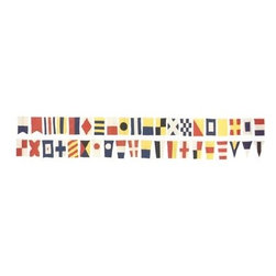 """Set of 40 Nautical Flags - The set of 40 nautical flags measures a total of 27 feet in length. Each flag is made out of cotton cloth and measures 9""""W x 17""""H. The set includes all 26 letters of the alphabet, all 10 numbers and 4 repeater letters. The flags are connected to a sturdy rope. These brightly colored nautical flags will add a definite nautical touch to wherever they are placed and are a must have for those who appreciate high quality nautical decor. They make a great gift, impressive decoration and will be admired by those who love the sea."""