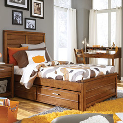 Lea Industries - Lea Keaton Captain's Bed in Toffee Twin - Clean lines, uncluttered forms and stylish function are the hallmarks of this fresh new youth collection. Floating tops, soft, rounded moldings and tapered legs create a linear form that will appeal to boys and girls, kids and teens, and of course Moms. Birch veneers and poplar solids are finished in a toffee brown slightly distressed finish. Hardware is linear handle pulls in an aged bronze finish. Abundant storage is provided by deep drawers in the dresser, drawer chest and nightstand, which also features a lower shelf. A rectangular mirror can be used horizontally or vertically over the dresser. Signature pieces include an updated chart desk with pencil drawer and multiple bins for easy organization, and stylish panel beds with applied horizontal bead motif, and available dual function underbed storage unit. - 330-930R-CPB.  Product features: Clean Lines; Boys or Girls; Birch Veneers & Poplar Solids; Toffee Brown slightly distressed finish; Hardware is linear handle pulls in aged bronze finish. Product includes:  Panel Headboard (1); Panel Footboard w/3 Slats (1); Wood Rails ; Dual Fuction Underbed Storage-KD (1)                  . Captain's Bed in Toffee belongs to Keaton Collection by Lea Industries.