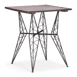 Zuo Modern Contemporary, Inc. - Heavy Metal Bistro Table With Distressed Wood Top - With inspiration drawn from the Eiffel Tower, the frame of the Heavy Metal Bistro Chair is unmistakable. A square wood table top rests on a rustic black metal frame. Perfect for an urban fire escape.