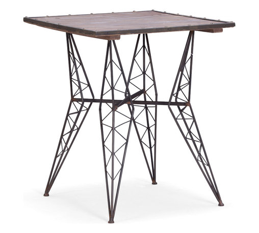 Zuo Modern Contemporary, Inc. - Heavy Metal Bistro Table Rusted metal with Distress Wood - With inspiration drawn from the Eiffel Tower, the frame of the Heavy Metal Bistro Chair is unmistakable. A square wood table top rests on a rustic black metal frame. Perfect for an urban fire escape.