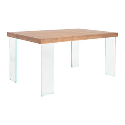 Eurostyle - Euro Style Cabrio Collection Small Dining Table Glass in Clear/Walnut - Small Dining Table Glass in Clear/Walnut in the Cabrio Collection by Eurostyle