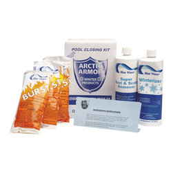 Blue Wave - Blue Wave Dichlor Closing Kit - 7500 Gal - Chlorine winterizing kits these handy kits are everything you need to close your pool this fall. All kits are formulated for specific pool sizes - just order the kit to fit your pool. Close your pool properly this fall and ensure a sparkling clean pool next spring with Arctic Armor's; winterizing kit, featuring Blue Wave  chemicals. All kits include free pool closing instructions. 7,500 gallon kit includes: 1 pint Terminator algaecide; 1 pint Super Rust and Scale; 1 lb. Burst Shock 15,000 gallon kit: 1 pint Halt 50 algaecide; 1 quart Super Rust and Scale; 2 lbs. Burst Shock 30,000 gallon kit: 1 pint Halt 50 algaecide; 1 quart Super Rust and Scale; 3 lbs. Burst Shock.