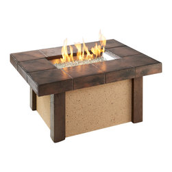 "The Outdoor Greatroom - Rivers Edge Rectangular Coffee Height Gas Fire Pit Table - The Rivers Edge looks as beautiful as it is sturdy. It has a stucco base with Supercast corner pieces, and a Supercast ""faux tile"" top which provides the perfect balance of rugged and classic. It also includes a matching Supercast cover and features an access door that conceals a standard 20 lb. propane tank. Both functional and beautiful, this magnificent fire pit table is built to last for years. This fire pit table comes with a rectangular 24x12 inch stainless steel Crystal Fire Burner that will truly light up the night and add warmth to your outdoor space. These burners are made from high quality stainless steel and include tempered, tumbled glass, an LP hose and regulator, a metal flex hose, a gas valve, and a push button sparker. With just a push of a button, a beautiful clean-burning fire appears atop a bed of highly reflective Diamond glass fire gems. All burners are shipped with orifices for LP or NG fuels and are UL approved for safety and quality. Adjust the flame height to your desired setting and enjoy the magic and ambience of a warm glowing fire."