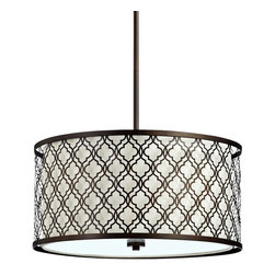 """Cyan Design - Byzantine 23"""" Wide Oiled Bronze Pendant - This gorgeous pendant light pairs wrought iron sophistication with the clean crisp feel of white linen for a look that's chic and cozy. Pair this wrought iron pendant light with white linen shade and oiled bronze finish over a big, farm style breakfast table for an element of surprise in your decor. Intricate design is softened by white linen for a look that is both sophisticated and warm. From the Byzantine Collection by Cyan Design."""