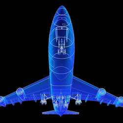 Wallmonkeys Wall Decals - Super High Resolution Boeing 747 Blueprint Rendering Wall Mural - 18 Inches W x - Easy to apply - simply peel and stick!