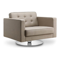 RED LIVING - Chelsea Beige Premium Easy Chair (Swivel) - The Chelsea Easy Chair draws its inspiration from 20th century cubism. The Chelsea range was designed with elegant sophistication in mind, presenting you with this elegant high quality, comfortable chair.