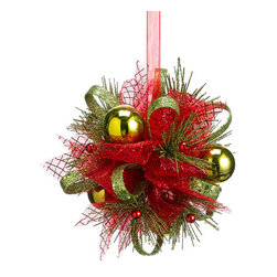 Silk Plants Direct - Silk Plants Direct Glitter Ribbon Ball Ornament (Pack of 8) - Red Green - Silk Plants Direct specializes in manufacturing, design and supply of the most life-like, premium quality artificial plants, trees, flowers, arrangements, topiaries and containers for home, office and commercial use. Our Glitter Ribbon Ball Ornament includes the following: