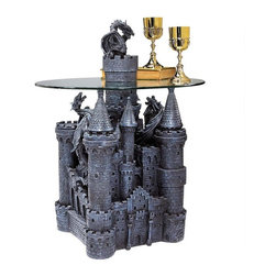"""EttansPalace - Castle Statue Sculpture Glass-Topped Side Table - From the imagination of award-winning artist, well known for his fantasy art and sculpture, a Celtic castle with classic spires and a dragon-topped turret seemingly rises through the cloudlike glass table-top to serve your guests! In a creative synergy of style and function unlike any medieval castle were ever seen, our catalog exclusive, quality designer resin version with Gothic greystone finish is sculpted 360 degrees and topped with a 3/8"""" thick, pencil-edged glass top to be admired from all angles."""