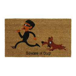 Rubber-Cal - 'Beware of Dog' Coir Outdoor Door Mat - This rectangular outdoor door mat has a whimsical print that is sure to be noticed. A vicious dog chasing a masked would-be burglar will send a message to uninvited guests. Its plush coir pile helps prevent dirt from being tracked into your home.