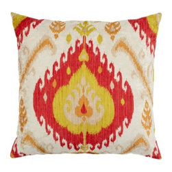 "Z Gallerie - Samara Pillow 24"" - Take a fresh approach to your decor by adding the bold pattern and rich color of our outstanding Samara Pillow to your furniture pieces. Inspired by traditional ikat patterns, blends of colors decoratively intermingle creating a stunning display of contrast and texture. Display as a show stopping accent pillow, or pair together with a contrasting mix of prints for an enticing display of pattern. Generously sized at 24€ù square and is filled with pure feathers, our Samara Pillows are the ultimate in sink-into sumptuousness. Available in Flame, Jade and Sapphire."
