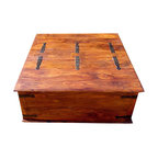 Sierra Living Concepts - Large Square Storage Chest Trunk Wood Box Coffee Table - Spacious Brand New Solid Wood Storage Trunk. Wonderfully generous top to this trunk that can be used as a coffee table or accent table.