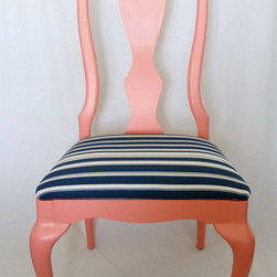 Coral and Navy Chair By Life at Second Glance - Coral and navy are so whimsical together — this chair hits the trend spot on!
