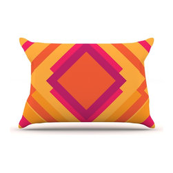 """Kess InHouse - Belinda Gillies """"Diamond Dayze"""" Orange Pink Pillow Case, Standard (30"""" x 20"""") - This pillowcase, is just as bunny soft as the Kess InHouse duvet. It's made of microfiber velvety fleece. This machine washable fleece pillow case is the perfect accent to any duvet. Be your Bed's Curator."""
