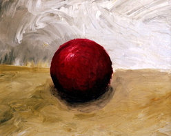 """""""The Red Sphere"""" (Original) By Michelle Calkins - This Is A Simple Still Life With A Red Sphere On A Tabletop."""