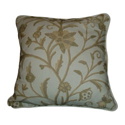 Crewel Pillow Tree of Life Neutrals on Off White Cotton 17x17