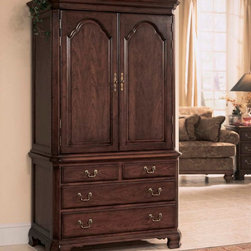American Drew - American Drew Cherry Grove Door Chest in Antique Cherry - The 45th Anniversary Cherry Grove Collection is a blending of new and old adaptations from 18th century and higher end traditional styling. Georgian, Edwardian, Sheraton along with Queen Anne elements create this beautiful assortment of furniture. Cathedral cherry veneers, alder solids and select hardwoods create a new and exciting collection of bedroom, dining room and occasional for American Drew. Cherry Grove features many new items that have been designed to fill the needs of your home along with many proven winners that have existed since the very beginning. Scale and dimensions have been addresses to better suit today's standard of living. Cherry Grove now offers you a variety of opportunities to complement multiple decorating environments. In the American Drew tradition, attention to detail and exquisite craftsmanship make every piece an heirloom. You will be investing in a timeless piece of furniture that will be cherished for generations to come. - 791-250R.  Product features: Belongs to Cherry Grove Collection by American Drew; Door Chest; 2 Wraparound Doors; 1 Fixed Shelf; 2 Adj. Shelves; 2 Tray Drawers; Clothes Rod; 2 Shirt Partitions; Sliding Back Panel; TV Opening: W39 D17 H35; 4 Drawers; Veneer drawer fronts; Wooden drawer guides; Designs Feature Ornate Detail and Beveled Crown Molding; Durable construction; Alder solids and cherry veneers; Select hardwoods; Classic Antique Cherry Color finish; Traditional Style. Product includes: Door Chest Base (1); Door Chest Deck (1). Door Chest in Antique Cherry belongs to Cherry Grove Collection by American Drew.