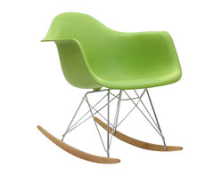 "Modway - Rocker Rocking Chair in Green - Not Grandma's rocking chair, this mid-century retro modern rocker, has the avant garde style of today that adds pizzazz to your room. Still a comfortable seat for lulling children to sleep or moving in time to music, this rocking chair is the symbol of the modern home. Includes: One - Molded Plastic Rocking Chair; Steel Base; ABS Plastic Seat; Solid Wood Rocker Bottoms; Dimensions: 27""L x 24""W x 26""H; Seat: 17""L x 16""W x 16""H; Armrest Height: 23""H"