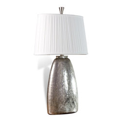 """Kathy Kuo Home - Vivian Glass Antique Silver Modern Elegant Lamp - 36"""" Height - Combine antique silver and modern elegance and you end up with the lovely Vivian Glass Lamp.  Featuring rounded glass finished in an antique silver, the Vivian flaunts a slightly textured appearance that contributes to the interest of the piece.  Contrasted by a gently pleated, off-white lampshade, the Vivian creates the illusion of a metallic lamp, making for a lighting option that is sure to stand out in any interior."""
