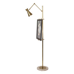 Robert Abbey - Jonathan Adler Bristol Floor Lamp, Antique Brass - A weighty floor lamp with a marble base will spruce up any home or work space. An adjustable metal shade offers height and amplitude for any creative project. Set up your own studio or shed some light on your fabulous furnishings with a deluxe floor lamp.