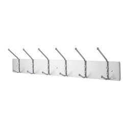 Safco - Safco Wall Rack 6 Hook Wall Coat Rack (Set of 6) - Safco - Coat Racks - 4162 - This 6 hook coat rack set is deal for small reception areas. Chrome-plated double steel hooks are mounted on a Satin Aluminum back plate. Ball tips prevent damage to garments while keeping them in place. Mount to any wall with included hardware.