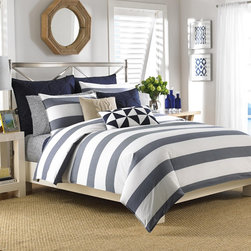 Nautica - Nautica Lawndale Navy Cotton 3-Piece Comforter Set - Chic,seafaring blue and white stripes lend contemporary coastal style to the Lawndale comforter set by Nautica. Crafted with soft cotton,this comfortable comforter and sham set is machine washable for easy clean up.