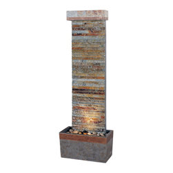 Kenroy Home - Kenroy 50293SLCOP Tacora Horizontal Floor Fountain - These fountains showcase the beauty of Natural Slate in a variety of ways.  Whether it be the intricately pieced slate of the Tacora fountains or the curved shape of the Curvature fountains, the natural warmth of slate will enhance any environment.
