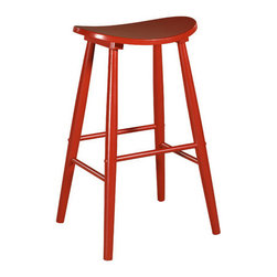 """Linon - 29"""" Curve Bar Stool - This backless bar stool offers a modern appeal with a classic construction. Its simple yet versatile design fits almost any style home. Featuring a curved comfortable seat and tapered legs, this stool is the perfect way to add style to any space.<br/> Features: -Tapered legs. -Versatile design. -Features simple lines and comfortable curve seat. -Perfect choice for any room in the house. -Classic style. -29"""" Seat H. -Dimensions: 29"""" H x 18.25"""" W x 16.75"""" D."""