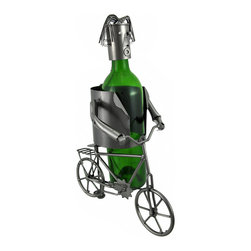 Bicyclist Metal Sculpture Wine Bottle Display - This metal sculpture is a wine bottle display- it is a wonderful addition to your home decor, and makes a lovely housewarming gift for the cycling enthusiast! It measures 13 1/4 inches tall, 6 1/4 inches wide, 9 1/2 inches deep, and accommodates bottles up to 3 1/2 inches in diameter. The top piece is attached by a chain to the body of the sculpture so it can`t be lost or thrown away. NOTE: All measurements include the wine bottle, but the bottle is not included with purchase.